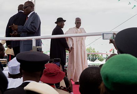 Incoming and outgoing Nigerian Presidents at the inauguration ceremony Incoming and Outgoing Nigerian Presidents Wave to Crowd Amid Peaceful Inaugural in Abuja.jpg