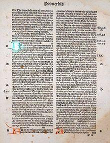 Side fra bibel med gotiske typer. 1497