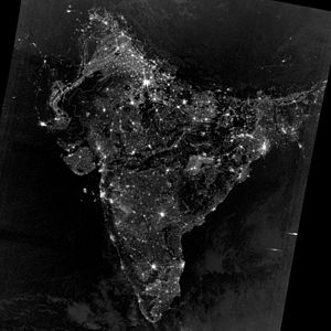 Indian subcontinent - Image: India at night from space during Diwali 2012