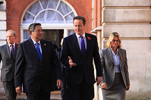 Indonesian President Yudhoyono, British Prime Minister David Cameron and International Development Secretary Justine Greening (8145398272)