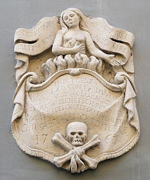 Church of St Nicholas, Valletta - 18th-century relief about an indulgence of 40 days outside the church