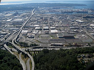 West Seattle Bridge - Aerial view from the east, including Spokane Street Viaduct; Interstate 5 in the foreground.
