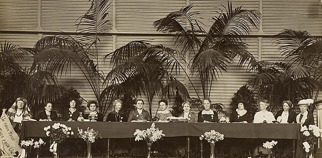 International Congress of Women in 1915. left to right:1. Lucy Thoumaian – Armenia, 2. Leopoldine Kulka, 3. Laura Hughes – Canada, 4. Rosika Schwimmer – Hungary, 5. Anika Augspurg – Germany, 6. Jane Addams – USA, 7. Eugenie Hanner, 8. Aletta Jacobs – Netherlands, 9. Chrystal Macmillan – UK, 10. Rosa Genoni – Italy, 11. Anna Kleman – Sweden, 12. Thora Daugaard – Denmark, 13. Louise Keilhau – Norway