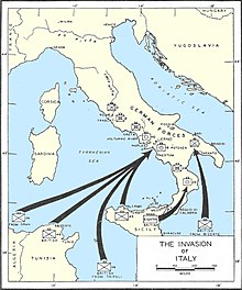 Map of Italy showing the three landing areas