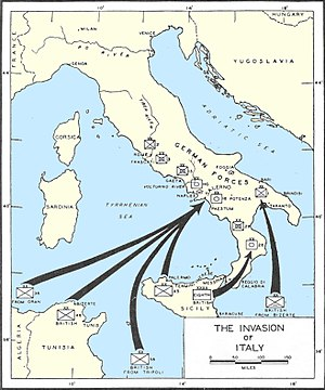 Operation Slapstick - Locations of the Allied invasion of Italy.