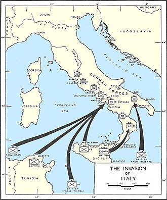 Operation Avalanche - Map of the Invasion of Italy.