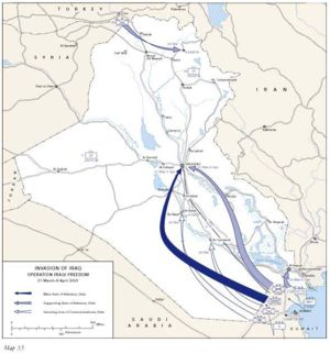 Timeline of the 2003 invasion of Iraq - Map of the route of the advance by U.S. and allied forces