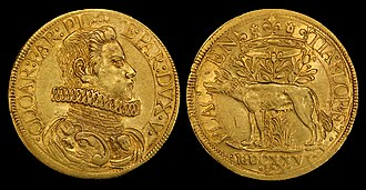 "Piacenza - Two gold Doppie (1626) depicting Odoardo Farnese (obv) and Placentia floret (""Piacenza flourishes"")(rev)."
