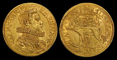 Odoardo Farnese depicted on a gold 2 doppie coin (1626).