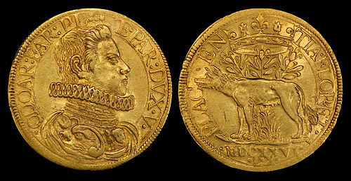 Obverse and reverse of a 1626 Duchy of Parma two-doppie gold coin