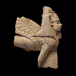 Plaque fragment: Egyptian-styled sphinx