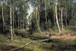 Ручей в березов лесу