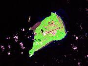 Imagen de satélite de la isla de Iwo Jima.