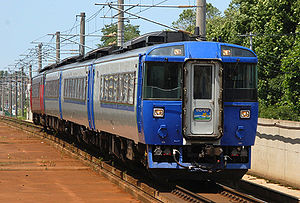 Sarobetsu (train) - KiHa 183 series DMU on a Sarobetsu service, July 2006