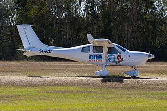 "Pauline Hanson's One Nation - Pauline Hanson in a Jabiru J230 at Caboolture Airfield for the Caboolture Air Show. The aircraft has ""Fed Up"" slogan decals on the side (April 2016)"