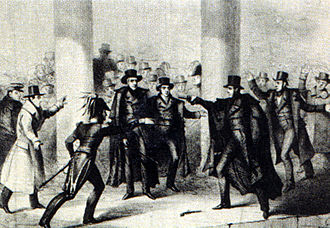 Presidency of Andrew Jackson - Richard Lawrence's attempt on Jackson's life, as depicted in an 1835 etching