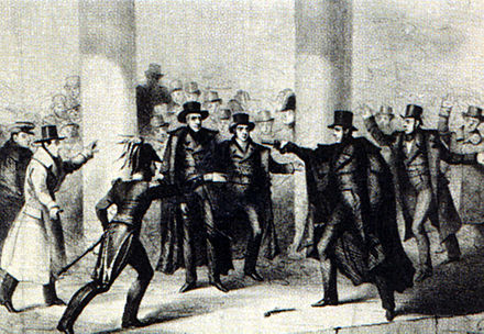 Richard Lawrence's attempt on Jackson's life, as depicted in an 1835 etching JacksonAssassinationAttempt.jpg