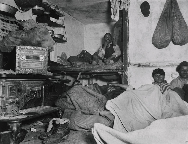 File:Jacob Riis, Lodgers in a Crowded Bayard Street Tenement.jpg