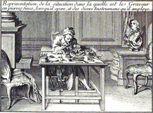 Jacques Guay - Jacques Guay in his studio 1750
