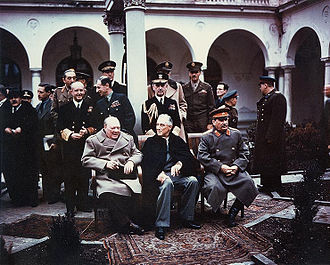 "The ""Big Three"" at the Yalta Conference in Crimea: Winston Churchill, Franklin D. Roosevelt, and Joseph Stalin. Jalta-confer.jpg"