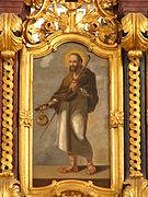 James the Elder with a pilgrim's staff and letter in his hands