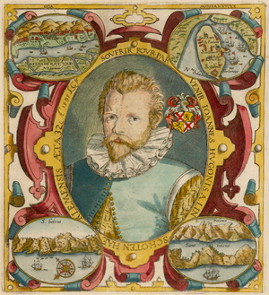 Jan Huyghen van Linschoten - Portrait of Jan Huygen van Linschoten, from the princeps edition of his Itinerario.