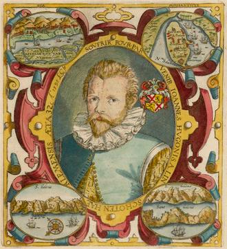 Jan Huyghen van Linschoten - Portrait of Jan Huygen van Linschoten, from the princeps edition of his Itinerario.