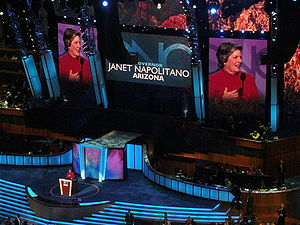 "Janet Napolitano - Napolitano says ""Huah Huah"" during the second day of the 2008 Democratic National Convention in Denver, Colorado."