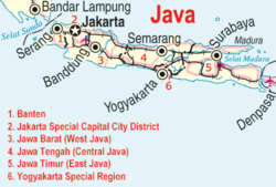 Mapa ng Java, Indonesia