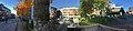 Jernbanegata, Nytorget, Mo i Rana, Torggata, Norway, 2017-10-09 – Rana tinghus tingrett, Universitet Nord Campus Helgeland, bibliotek, Rana kommune – cropped distorted panorama a.jpg