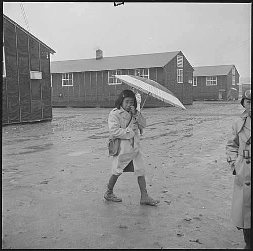 Jerome Relocation Center, Denson, Arkansas. The Arkansas rainy season, and this young resident of t . . . - NARA - 539345.jpg