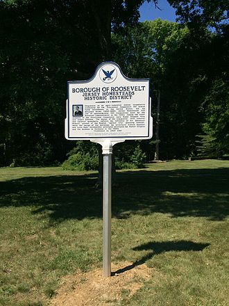Roosevelt, New Jersey - Jewish American Society for Historic Preservation, historic marker in Jersey Homesteads (Roosevelt), N.J.