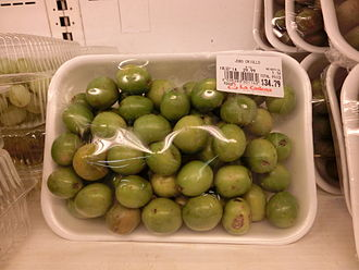 Spondias mombin - Green fruits in a supermarket in the Dominican Republic