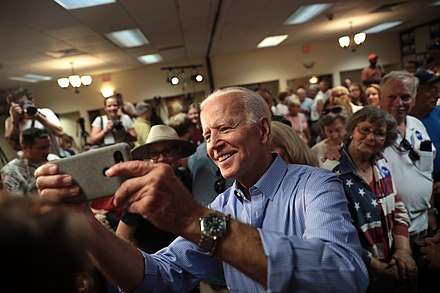 Joe Biden with supporters.