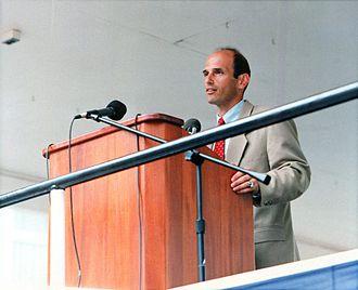 John Baldacci - Baldacci giving a speech in Bath, Maine, on August 12, 1995