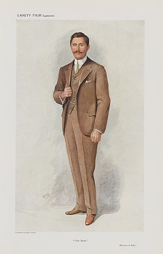 "John Crichton-Stuart, 4th Marquess of Bute - ""The Bute"", caricature by ""WHO"" in Vanity Fair, 1910."