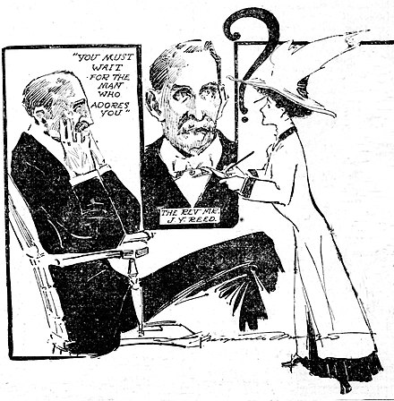 Journalist Marguerite Martyn of the St. Louis Post-Dispatch made this sketch of herself interviewing a Methodist minister in 1908 for his views on marriage. Journalist Marguerite Martyn interviews Rev. J.Y. Reed in 1908.jpg