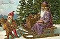 Joyeux Noel, Santa in a purple robe, being pulld on a sled by two elves (NBY 679).jpg