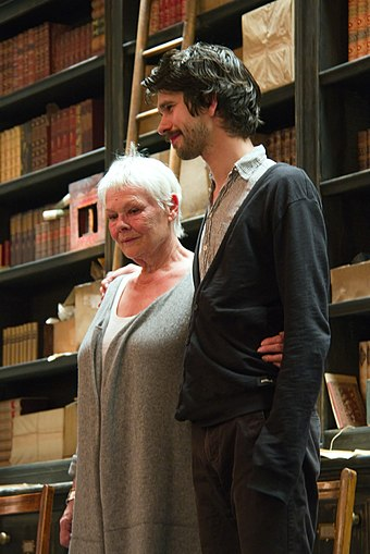 Dench with Skyfall co-star Ben Whishaw at the Noel Coward Theatre in May 2013 Judy and Ben (8749969035) (2).jpg