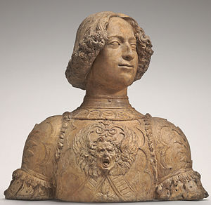 Giuliano de' Medici - Giuliano de' Medici, terracotta bust by Andrea del Verrocchio, c. 1475/1478, in the National Gallery of Art.