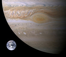 Jupiter, Earth size comparison.jpg