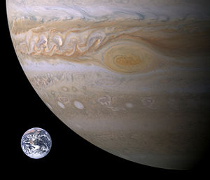 Great Red Spot - Approximate size comparison of Earth and the Great Red Spot.