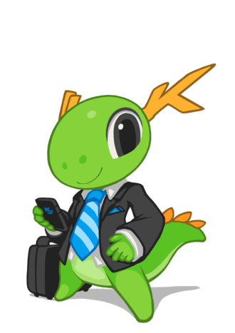 KDE e.V. - KDE's mascot Konqi suited for serious business.