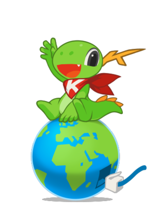 KIO - Image: KDE mascot Konqi for network applications