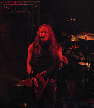 """Power metal - Kai Hansen of Gamma Ray, ex-Helloween during a show in Barcelona, Spain. Hansen is widely regarded as the """"godfather of power metal""""."""
