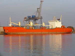 English: The Russian cargo ship Kapitan Danilk...