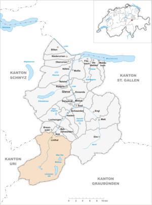 Linthal, Glarus - Image: Karte Gemeinde Linthal 2007