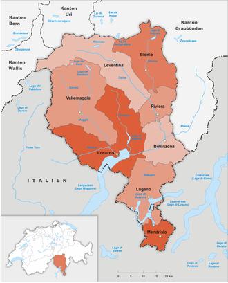 Karte Kanton Tessin Bezirke 2017