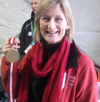 Kathy Kreiner - Kreiner-Phillips in 2010  with her 1976 Olympic gold medal