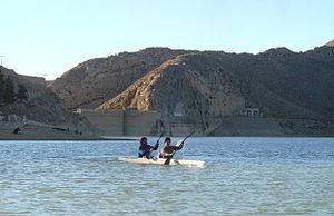 Hanna Lake -  Ali Khilji and Abubakar Durrani Kayaking in front of Hanna Lake Bridge Wall constructed by Great Britain in 1894.